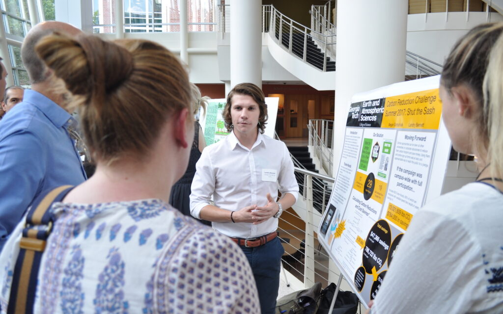 Student presenting at the Summer 2017 Carbon Reduction Challenge